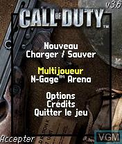 Image du menu du jeu Call of Duty sur Nokia N-Gage