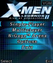 Image du menu du jeu X-Men Legends II - Rise of Apocalypse sur Nokia N-Gage