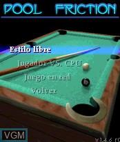 Image du menu du jeu Pool Friction sur Nokia N-Gage
