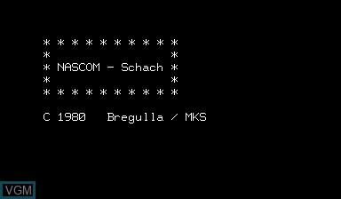 Image de l'ecran titre du jeu Chess without Graphics sur Nascom