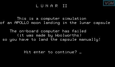 Image de l'ecran titre du jeu Lunar II sur Nascom