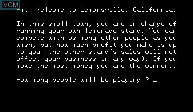 Image du menu du jeu Lemonade Stand sur Nascom