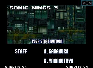 Image de l'ecran titre du jeu Aero Fighters 3 / Sonic Wings 3 sur SNK NeoGeo