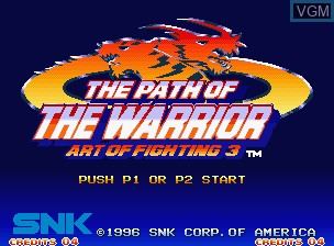 Image de l'ecran titre du jeu Art of Fighting 3 - The Path of the Warrior / Art of Fighting - Ryuuko no Ken Gaiden sur SNK NeoGeo
