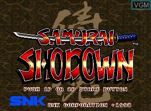Image de l'ecran titre du jeu Samurai Shodown / Samurai Spirits sur SNK NeoGeo