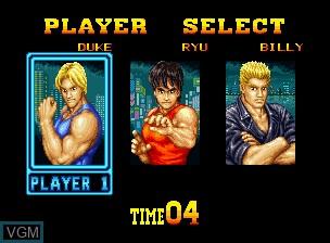 Image du menu du jeu Burning Fight sur SNK NeoGeo
