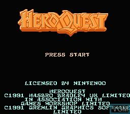 Image de l'ecran titre du jeu Hero Quest sur Nintendo NES