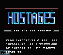 Image de l'ecran titre du jeu Hostages - The Embassy Mission sur Nintendo NES