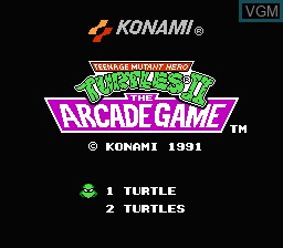 Image de l'ecran titre du jeu Teenage Mutant Hero Turtles II - The Arcade Game sur Nintendo NES