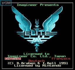 Image de l'ecran titre du jeu Elite sur Nintendo NES