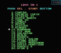 Image de l'ecran titre du jeu 1200-in-1 sur Nintendo NES