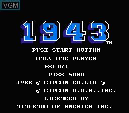 Image de l'ecran titre du jeu 1943 - The Battle of Midway sur Nintendo NES