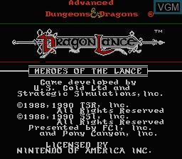 Image de l'ecran titre du jeu Advanced Dungeons & Dragons - Heroes of the Lance sur Nintendo NES