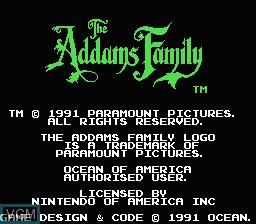 Image de l'ecran titre du jeu Addams Family, The sur Nintendo NES