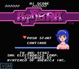 Image de l'ecran titre du jeu Athena sur Nintendo NES