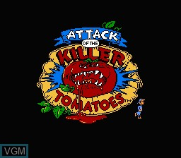 Image de l'ecran titre du jeu Attack of the Killer Tomatoes sur Nintendo NES
