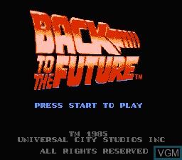 Image de l'ecran titre du jeu Back to the Future sur Nintendo NES