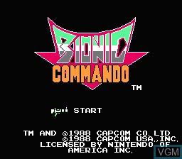Image de l'ecran titre du jeu Bionic Commando sur Nintendo NES