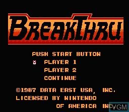 Image de l'ecran titre du jeu BreakThru sur Nintendo NES