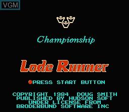 Image de l'ecran titre du jeu Championship Lode Runner sur Nintendo NES