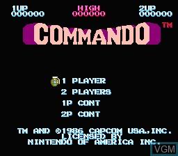 Image de l'ecran titre du jeu Commando sur Nintendo NES