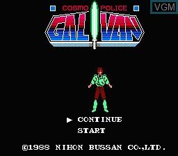 Image de l'ecran titre du jeu Cosmo Police Galivan sur Nintendo NES