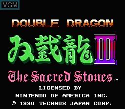 Image de l'ecran titre du jeu Double Dragon III - The Sacred Stones sur Nintendo NES