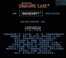 Image de l'ecran titre du jeu Dragon's Lair sur Nintendo NES