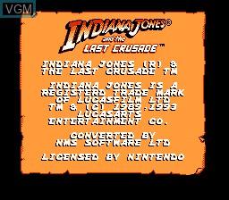 Image de l'ecran titre du jeu Indiana Jones and the Last Crusade sur Nintendo NES