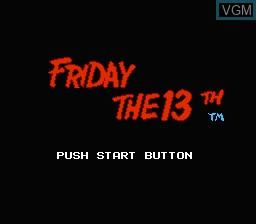 Image de l'ecran titre du jeu Friday the 13th sur Nintendo NES