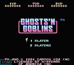 Image de l'ecran titre du jeu Ghosts 'N Goblins sur Nintendo NES