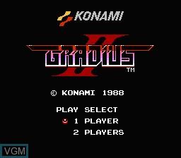Image de l'ecran titre du jeu Gradius II sur Nintendo NES