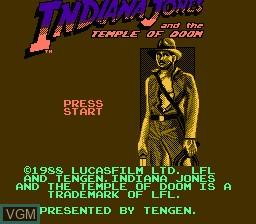 Image de l'ecran titre du jeu Indiana Jones and the Temple of Doom sur Nintendo NES