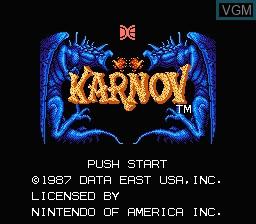 Image de l'ecran titre du jeu Karnov sur Nintendo NES