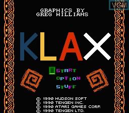 Image de l'ecran titre du jeu Klax sur Nintendo NES