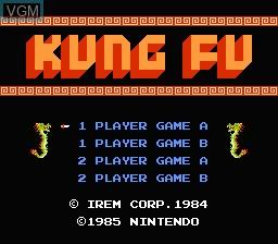 Image de l'ecran titre du jeu Kung Fu sur Nintendo NES