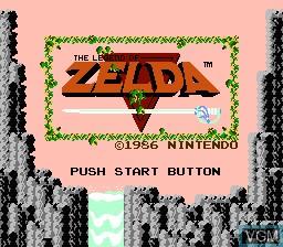 Image de l'ecran titre du jeu Legend of Zelda, The sur Nintendo NES