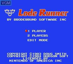 Image de l'ecran titre du jeu Lode Runner sur Nintendo NES