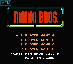 Image de l'ecran titre du jeu Mario Bros. sur Nintendo NES