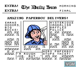 Image de l'ecran titre du jeu Paperboy sur Nintendo NES