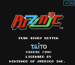 Image de l'ecran titre du jeu Puzznic sur Nintendo NES