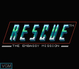 Image de l'ecran titre du jeu Rescue - The Embassy Mission sur Nintendo NES