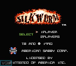 Image de l'ecran titre du jeu Silkworm sur Nintendo NES