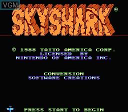 Image de l'ecran titre du jeu Sky Shark sur Nintendo NES