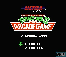 Image de l'ecran titre du jeu Teenage Mutant Ninja Turtles II - The Arcade Game sur Nintendo NES
