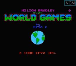 Image de l'ecran titre du jeu World Games sur Nintendo NES