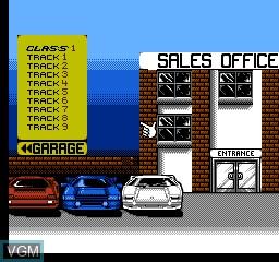 Image du menu du jeu Super Cars sur Nintendo NES