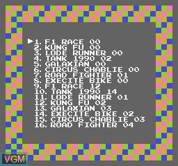 Image du menu du jeu 116-in-1 sur Nintendo NES