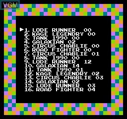 Image du menu du jeu 118-in-1 sur Nintendo NES