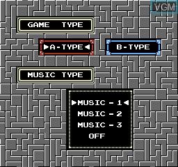 Image du menu du jeu Tetris sur Nintendo NES